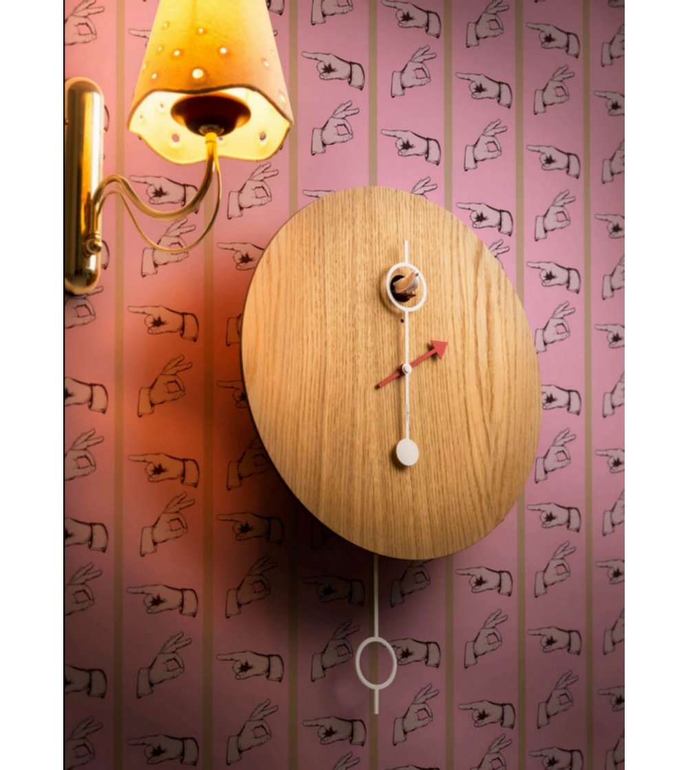 Cuckoo Clock Mod Cipo By Diamantini And Domeniconi With A White Lacquered Metal Or Natural Oak Wood Case Modern Linear Design Conceived