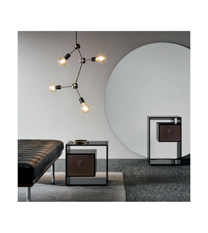 Liber E F Nightstand In Smoked Glass Tonelli Design