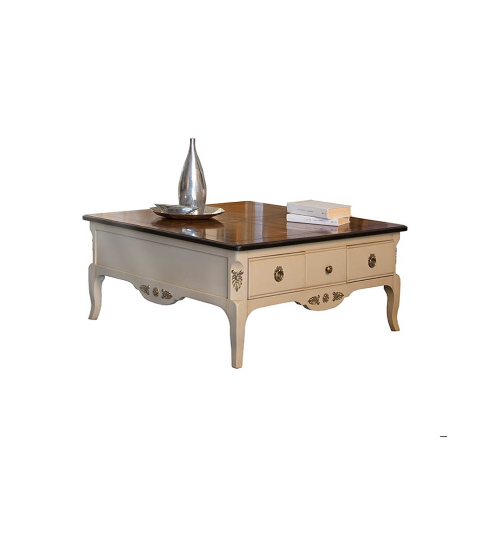 MA.10 Stella Del Mobile Square Small Table In Cherry Wood With Ivory  Lacquered Structure And Antique Walnut Top. With Four Drawers, This Small  Table Is A ...