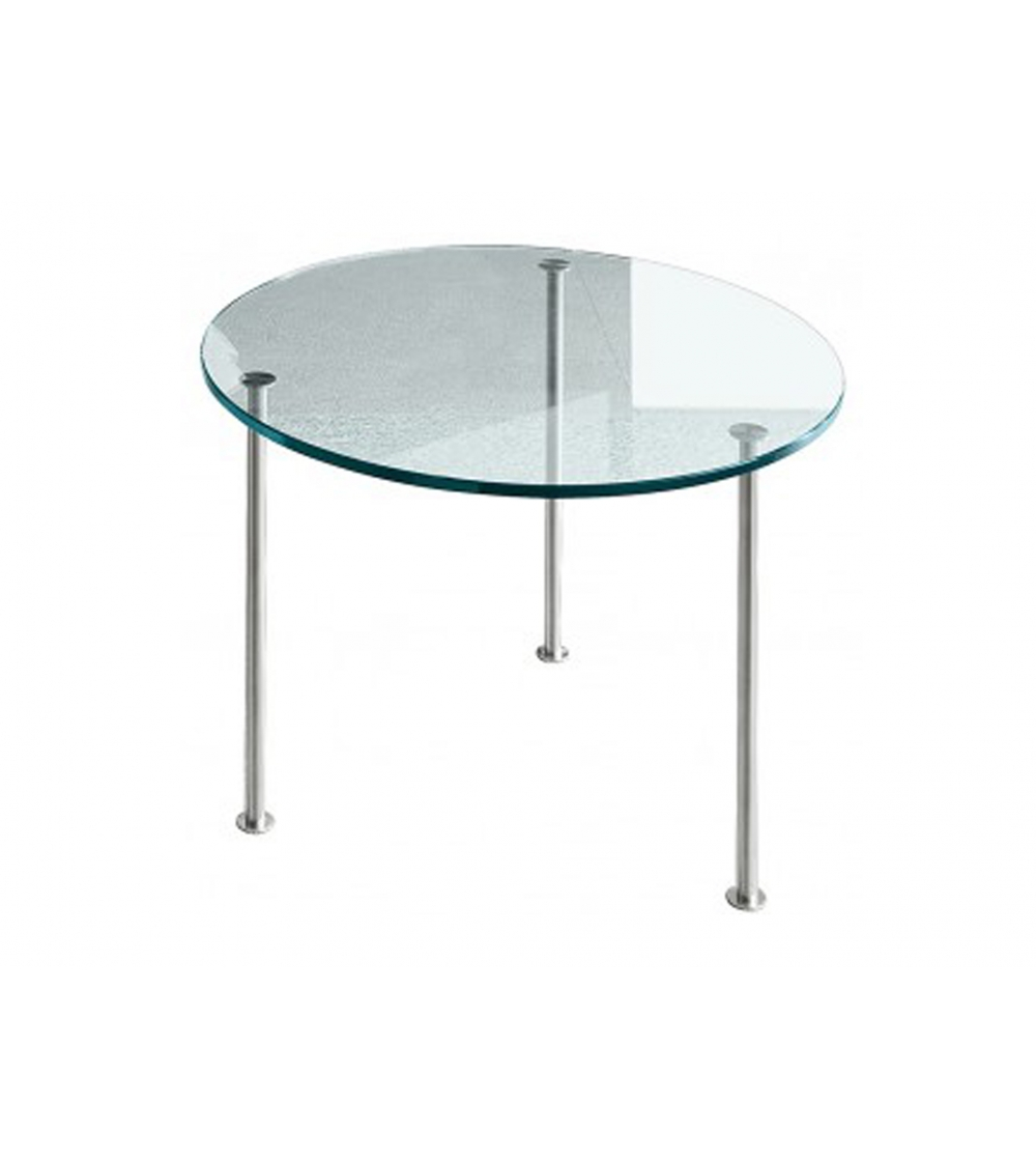 38545a9d99e1 Round Twig Tonelli Design Coffee Table. Low circular Coffee Table in  transparent or etched tempered glass with 3 supports in polished stainless  steel ...