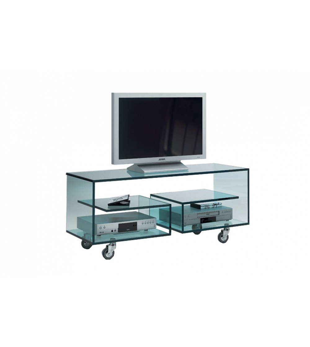 Flò 1 Tonelli Design TV Cabinet. Multipurpose TV Cabinet On Wheels With  Transparent Glass Or Extra Clear Transparent Glass Structure.