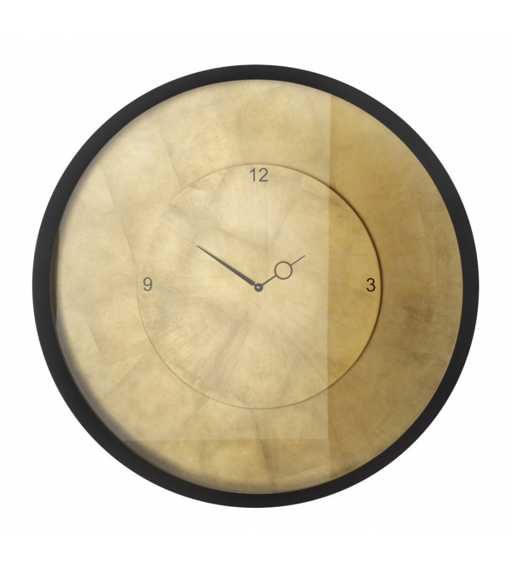 Wall Clock Mod Time By Diamantini Domeniconi With Wooden Case In White Or Black Lacquered Wood Wengé Color Internal Dial Covered Gold