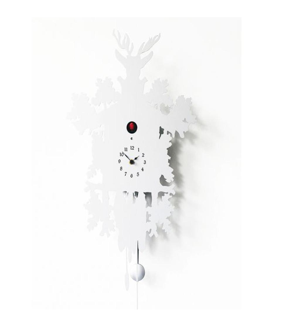 Cuckoo Clock Mod Cucù By Diamantini Domeniconi With Case Available In Lacquered Metal Wooden Sheet Covered Diffe Colors