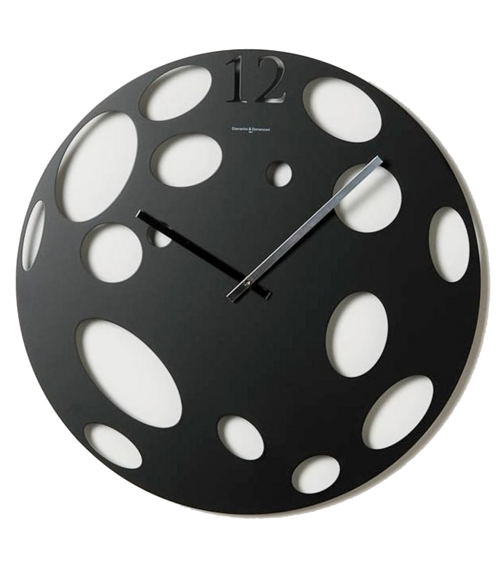 Wall Clock Mod Moon By Diamantini And Domeniconi With Laser Cut Lacquered Metal Case Available In 4 Diffe Colors Red Aluminum White Or Black