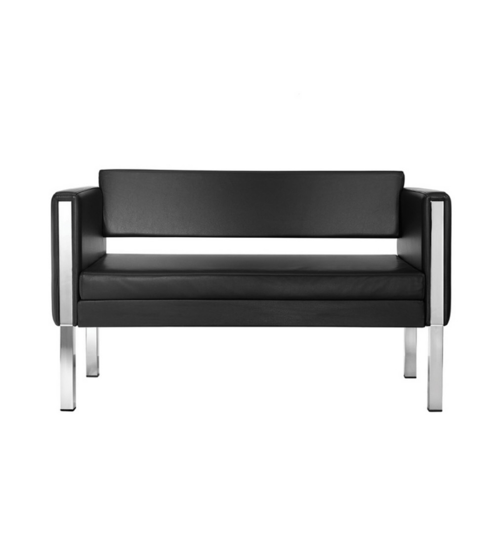 Holly Sofa By La Seggiola With 2 Seater And Chromed Steel Frame, Covered In  Eco Leather In White Or Black. With An Attractive Design, It Is Ideal For  ...